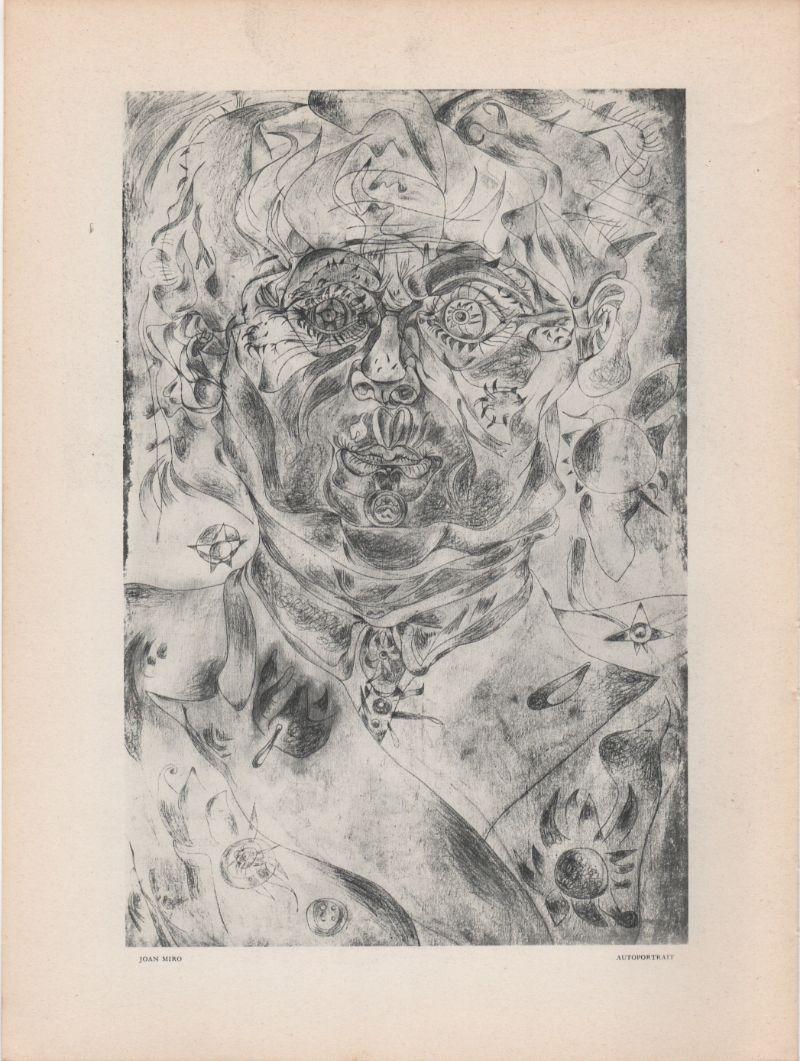 """Miro-Joan-""""Autoportrait""""-Litografia-originale-(Autoritratto)"""